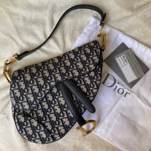 Christian Dior Blue Saddle Bag